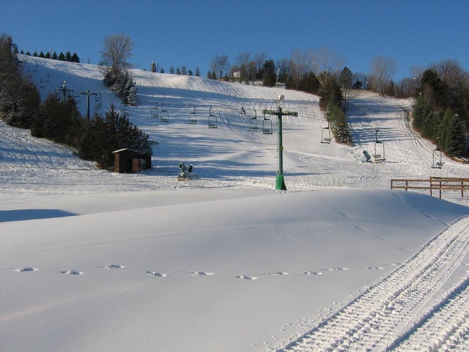 Footprints in fresh snow at Mt Kato, MN.