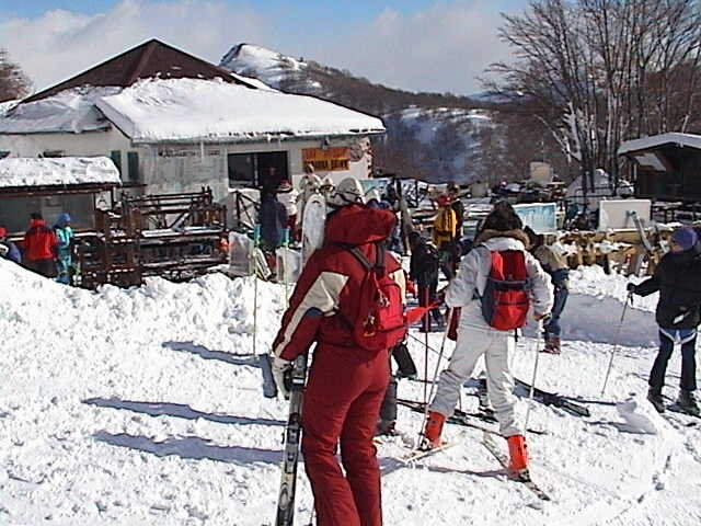 Skiers at the lodge Ovindoli, Italy