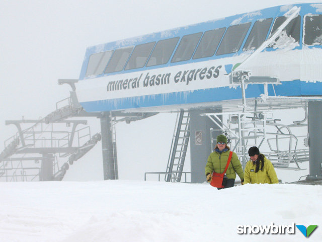 A view of the chairlifts at Snowbird, Utah