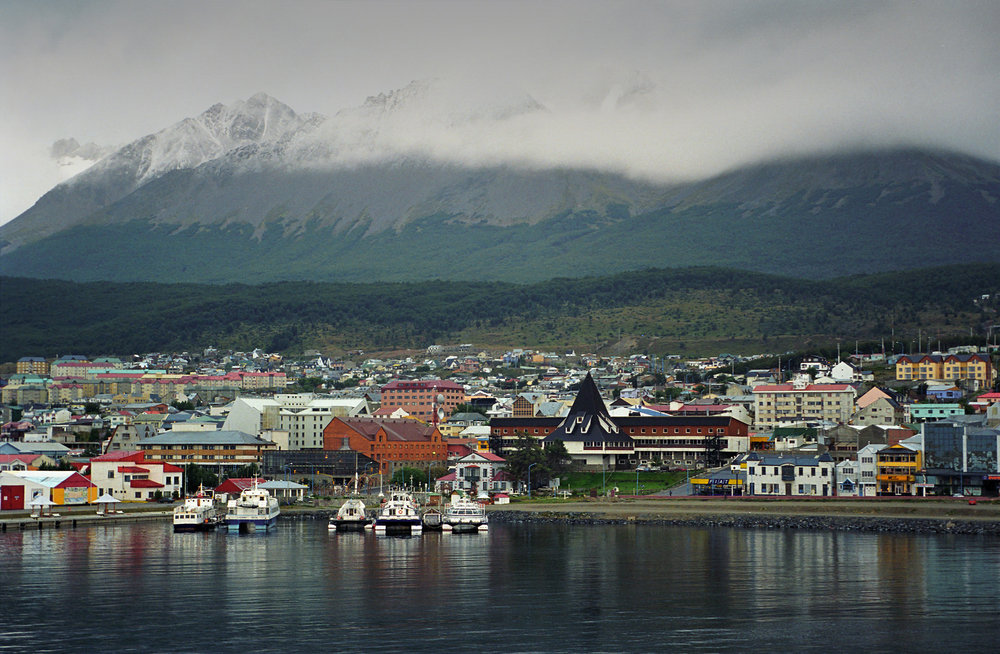 The harbor of Ushuaia, Argentina under Cerro Castor.