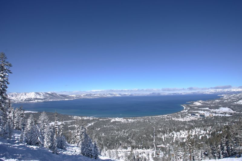 A view of Lake Tahoe at the top of Heavenly Mountain Resort in South Lake Tahoe, California