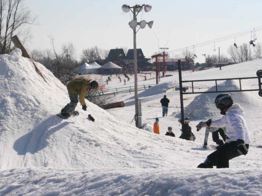 Visitors to snowpark at Sunburst, Wisconsin.