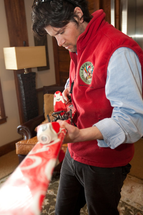 Ski Butlers fitting customers in their accommodations in Deer Valley, Utah.