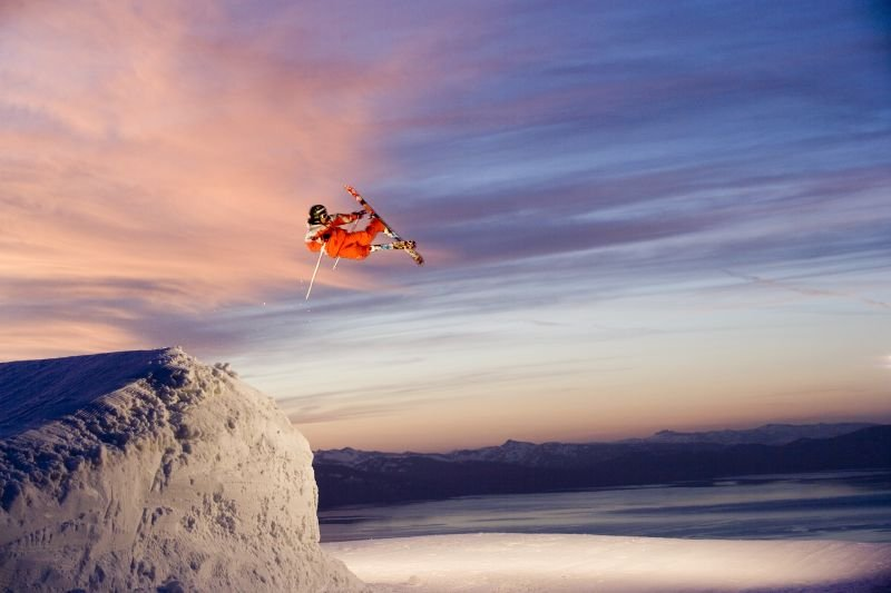 Brent Abrams gets air at Heavenly Mountain Resort in South Lake Tahoe, California