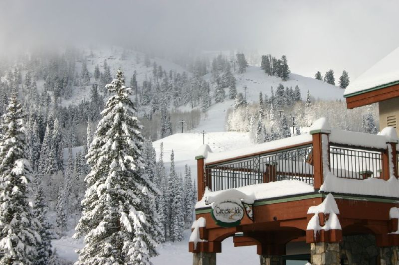 A view of a lodge and mountain at Solitude Mountain Resort, Utah