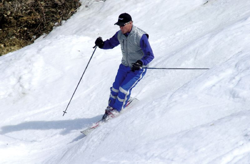 A skier at Chestnut Mountain Resort, Illinois