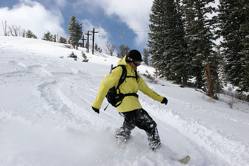 A snowboarder finds powder in Solitude,Utah
