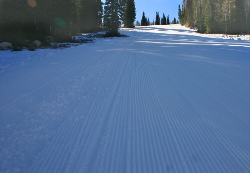A groomed run at Solitude Mountain Resort, Utah