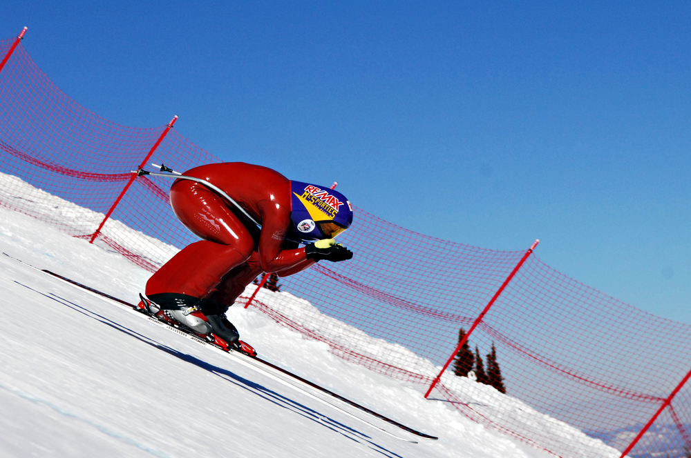 A skier aims for high speeds in the FIS Speed Skiing World Cup at Sun Peaks. Alpine Images photo.