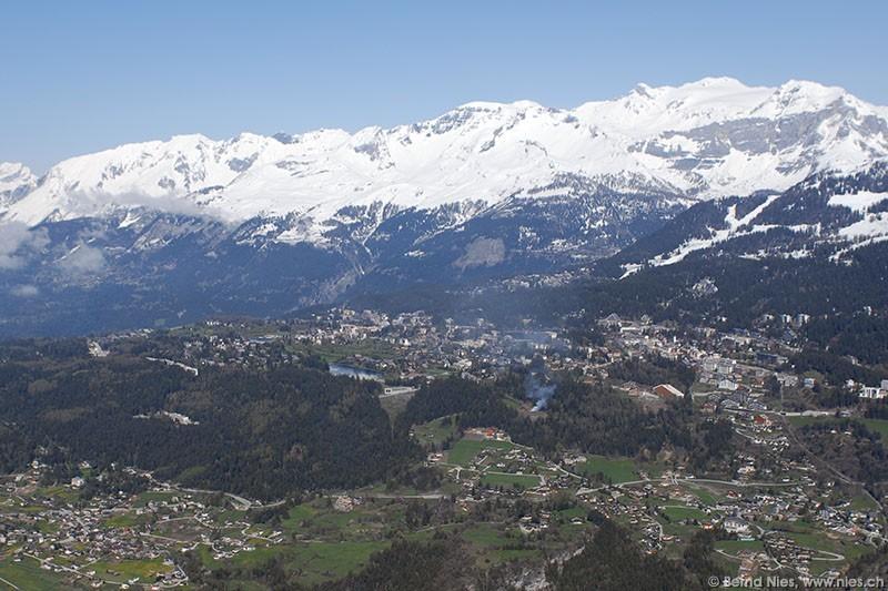 Scenic Swiss Crans Montana.
