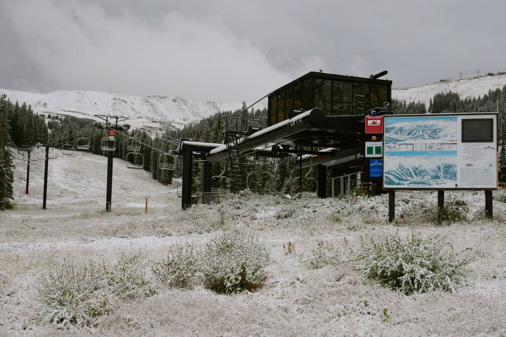 Loveland Ski Area is slowly turning white.