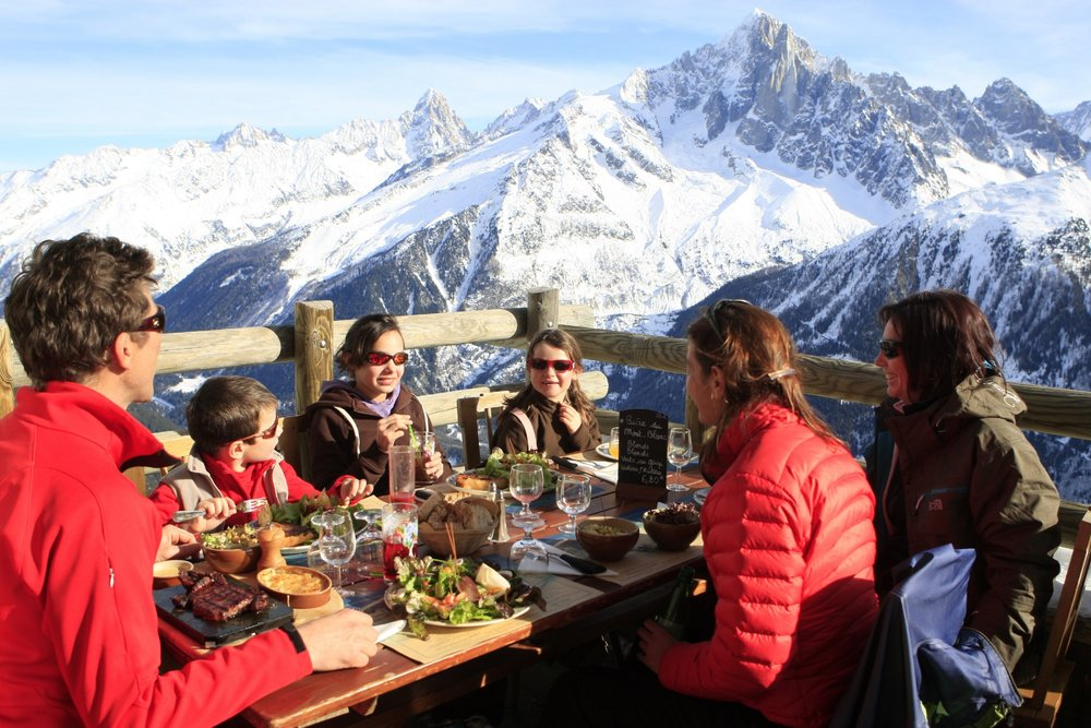 Lunch on the mountain in Brevent, Chamonix