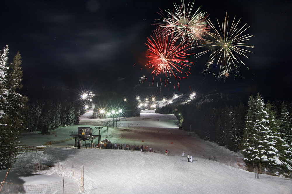 Fireworks go off at night over Mt. Hood Skibowl.