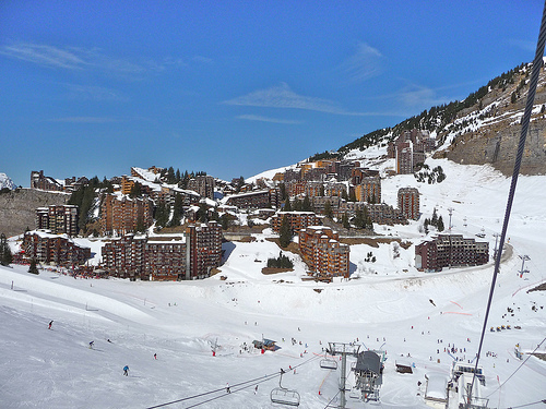 View of Avoriaz resort from the ski lifts