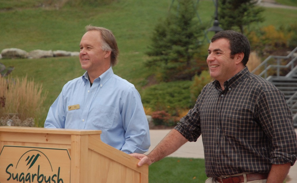 Sugarbush President Win Smith and Mad River Glen Marketing Director Eric Friedman address the press. Photo Courtesy Sugarbush Resort.