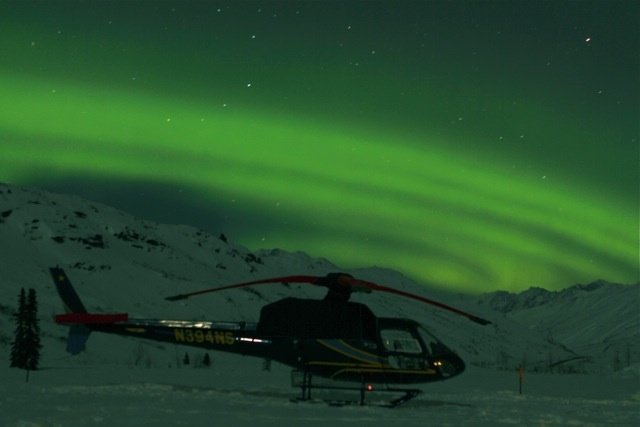 Get your adrenaline fix heli-skiing with ABA, then check out the Northern Lights. Photo Courtesy of Alaska Backcountry Adventures.