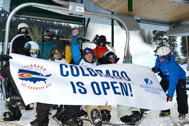 First chair of the Colorado ski sesaon at Arapahoe Basin
