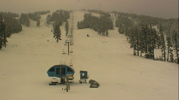 Mt. Bachelor received its first 2012 snowstorm Oct. 22. Photo courtesy of Mt. Bachelor webcam.
