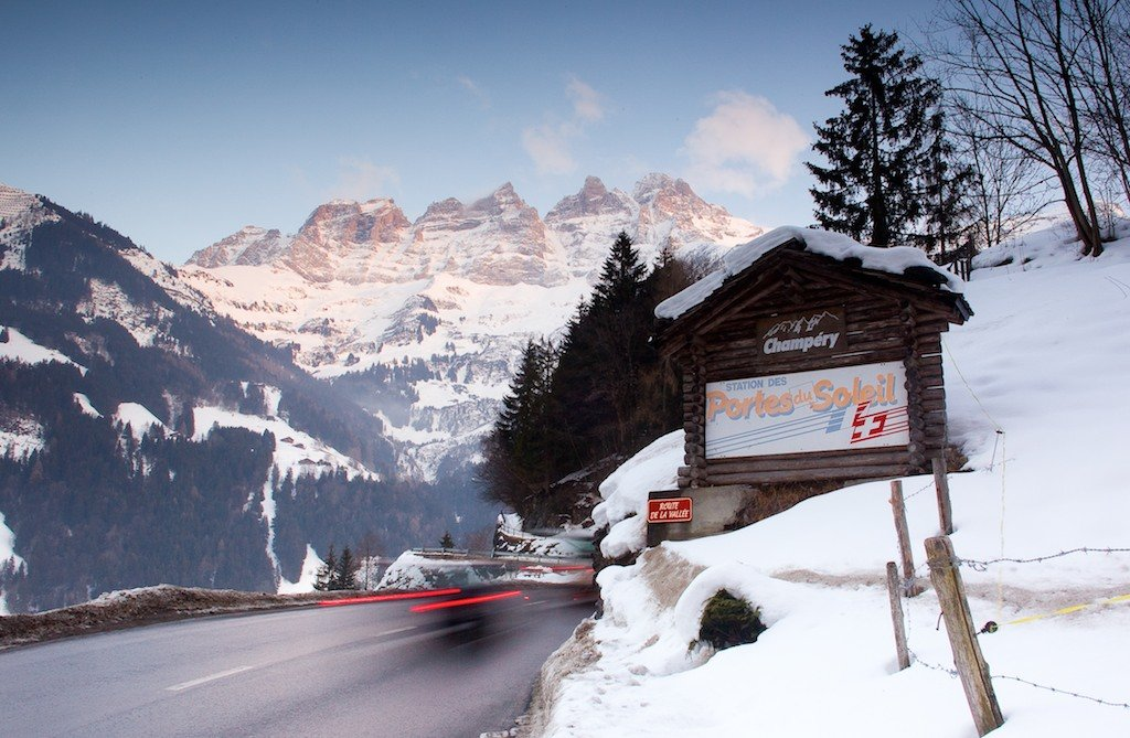 A view of the road going up to Champery. Champery is the last village at the end of the Vallee d'Illiez and at the base of the iconic Dents du Midi. Translated to the