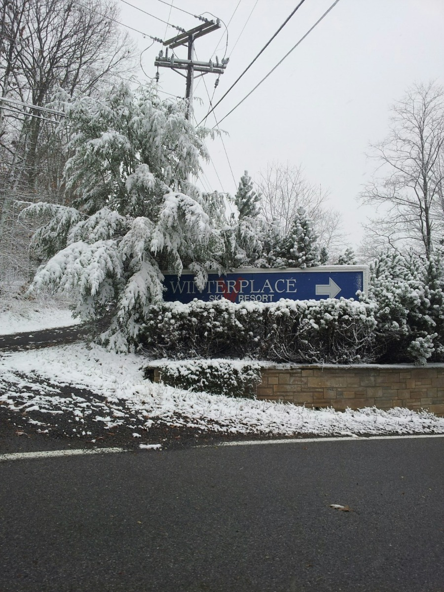 Snow at the entrance to Winterplace Ski Area in WV. Photo Courtesy of Winterplace/Facebook