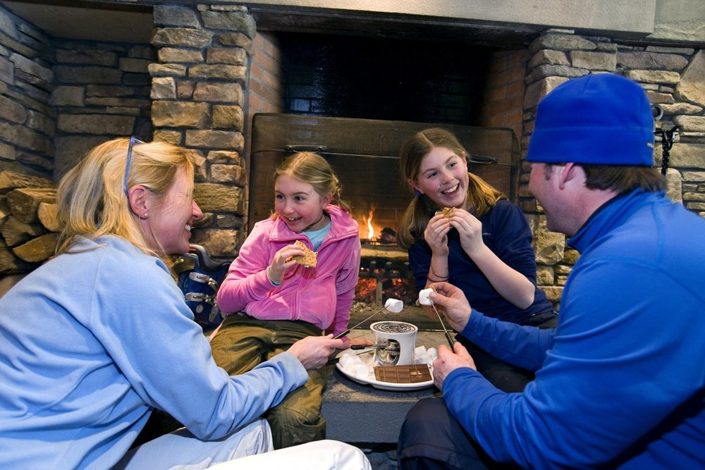 Family time, Okemo-style. S'mores in front of the fireplace. Photo courtesy of Okemo Mountain Resort.