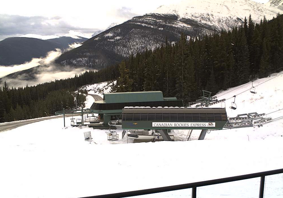 A webcam shows snow at the base of Marmot Basin. Photo courtesy of Marmot Basin webcam.