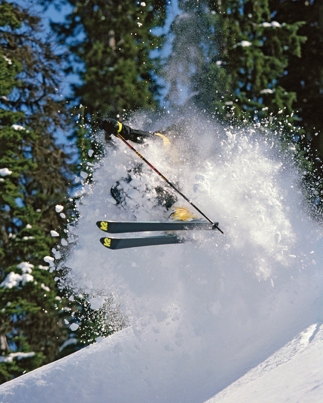 Scot Schmidt blasts through powder at Island Lake Lodge