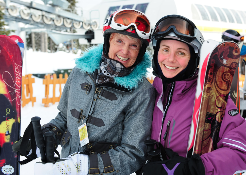 Two women ready for the slopes at Big White. Photo by Quick Pics, courtesy of Big White Resort.