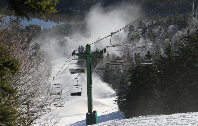 Ideal snowmaking conditions and some snowfall from Sandy helped push up Snowshoe's Opening Day. Photo Courtesy of Snowshoe Mountain Resort.