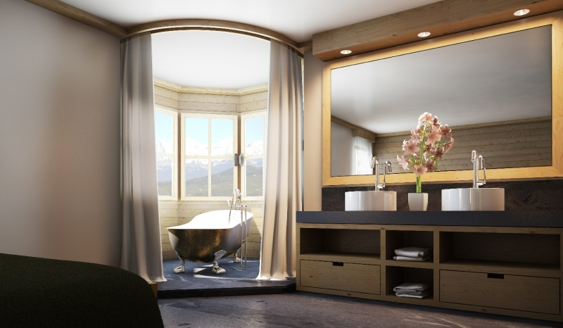 Suite at the Walserhof hotel in Klosters, Switzerland