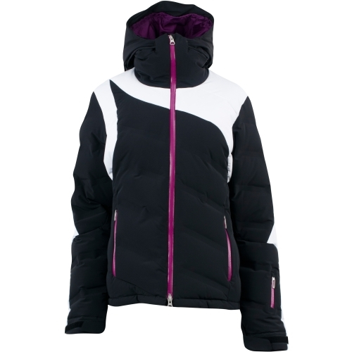 Spyder Aphrodite Women's Jacket—Not only does this jacket make a style statement on the slopes, it's also incredibly warm with 650 Fill Power Goose Down in the body and sleeves. Spyder also added convenient features like a brushed microfiber inner collar, interior stretch cuffs with thumb holes and a data card pocket with a convenient chamois inside. $500 - ©Spyder