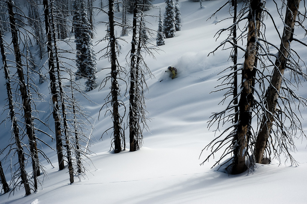 Dave Treadway enjoying the re-set of fresh snow at Monashee Powder Snowcats.