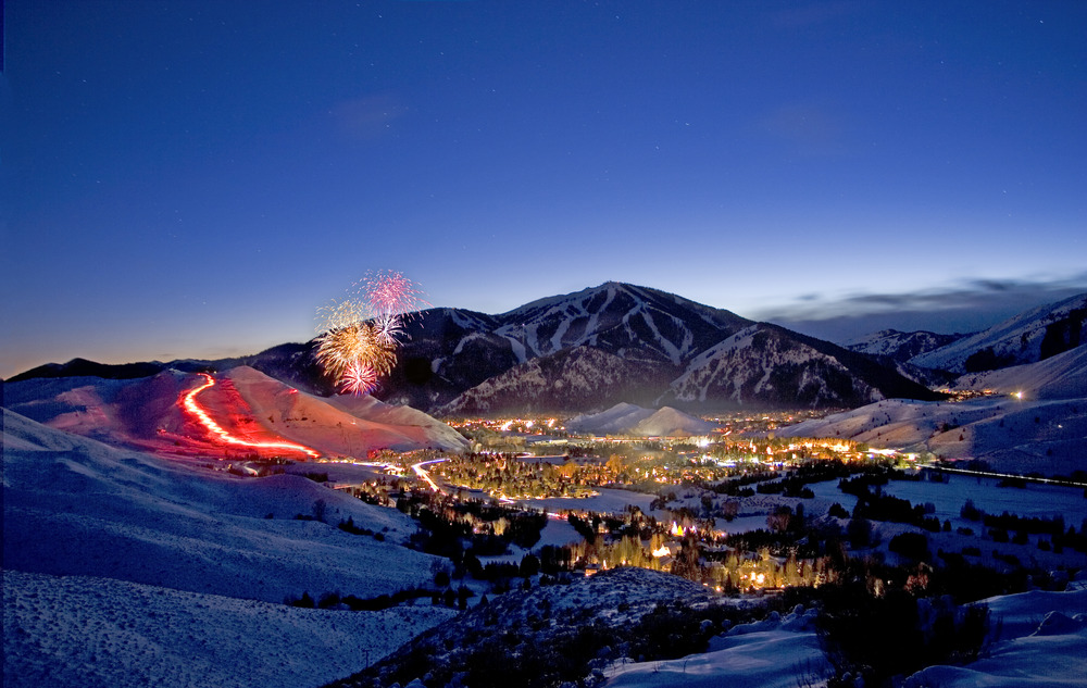 Fireworks and torchlight at Sun Valley at Christmas. Photo courtesy of Sun Valley Resort.