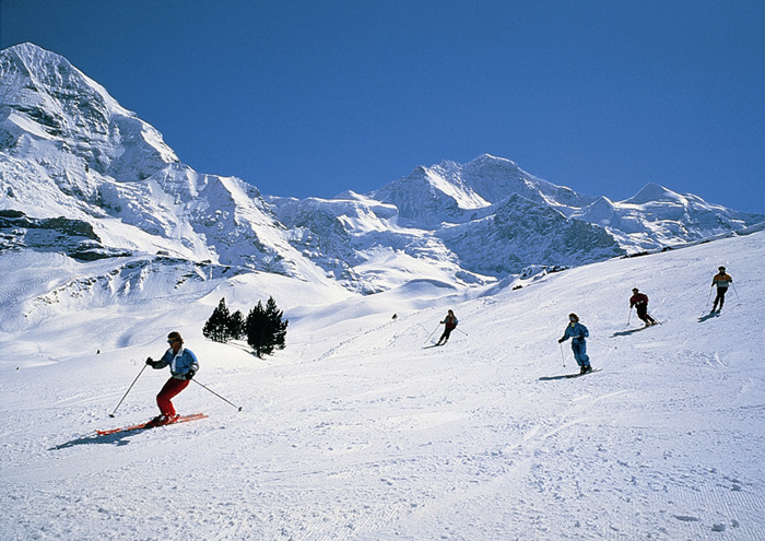 Skiers at Grindelwald, Switzerland