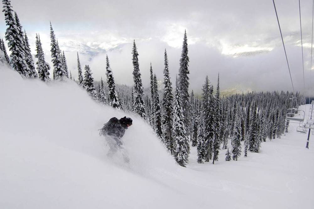 Patroller Olivier Meilleur rides Denver Dollars at Revelstoke in late November. Photo courtesy of Revelstoke Mountain Resort. 