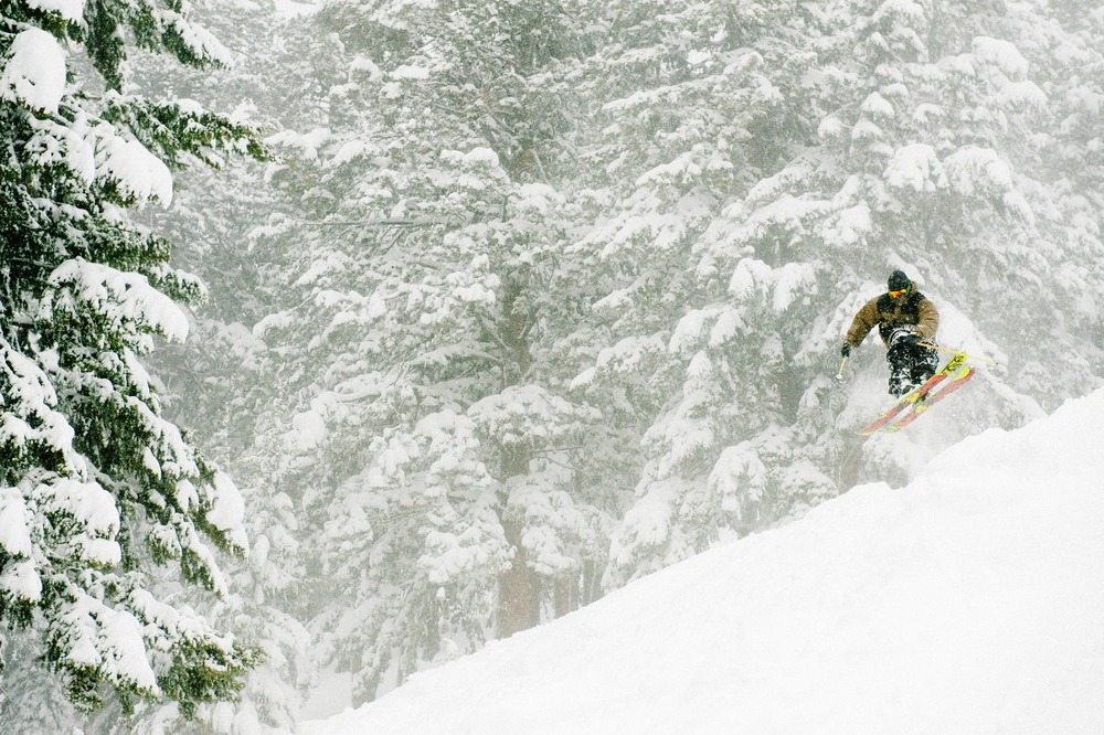 Collin Collins having fun in the pow.