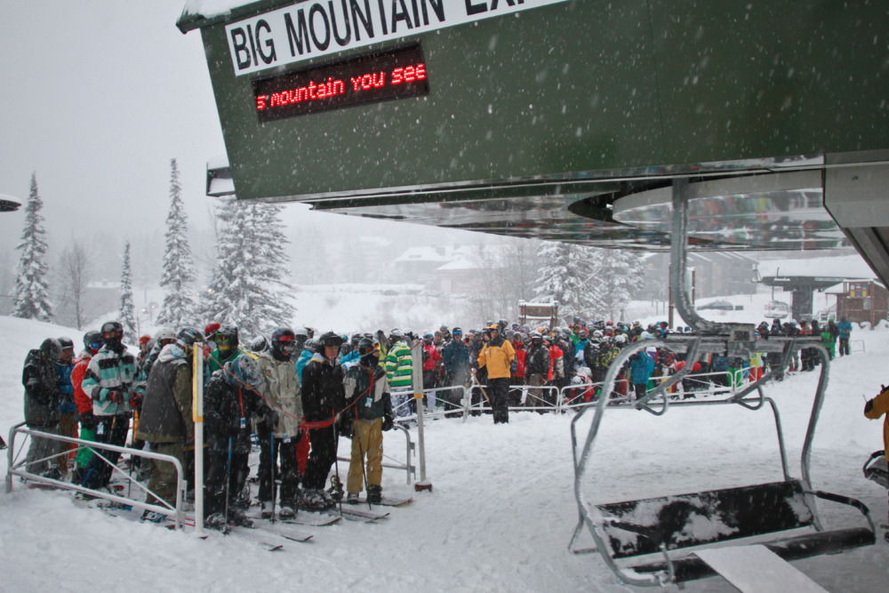 Opening day line before first chair at Whitefish. Photo courtesy of Whitefish Mountain Resort.