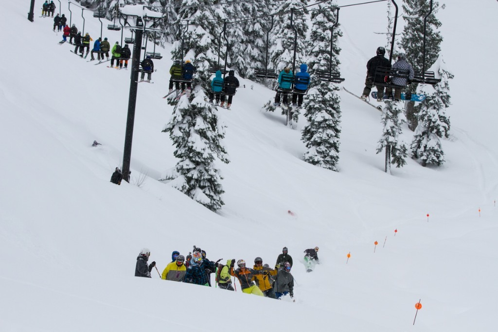 The first crew of skiers had to battle their way out of the bottomless powder.
