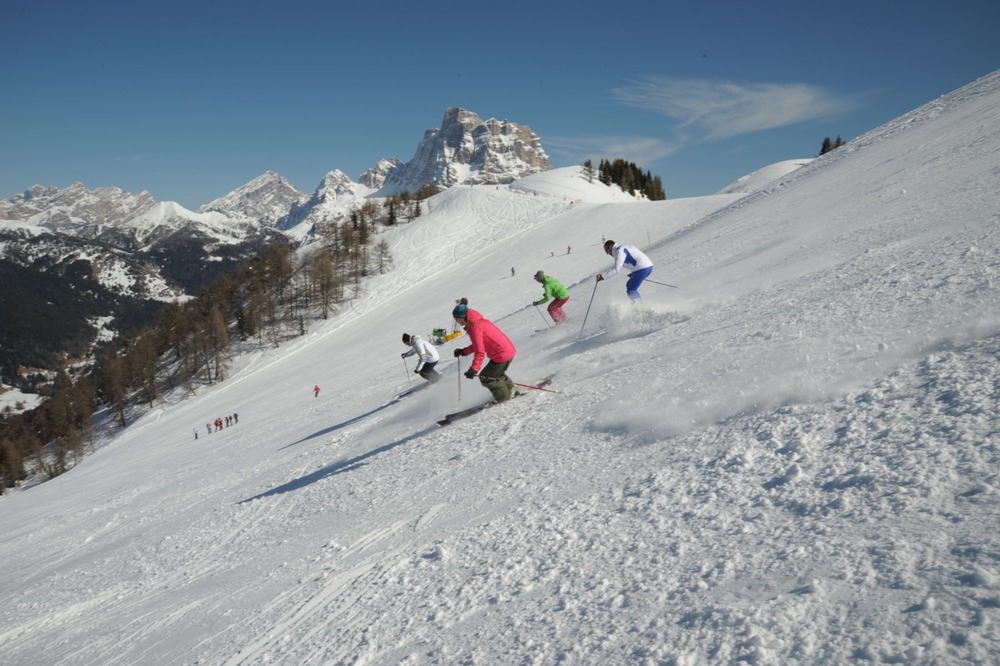 First skiers in Civetta, Dolomites. Dec. 8, 2012