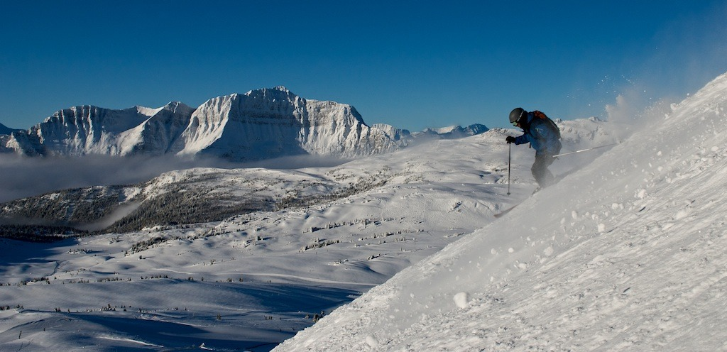 A bluebird day at Sunshine Village. Photo by Brandon Brown, courtesy of Ski Banff-Lake Louise-Sunshine.