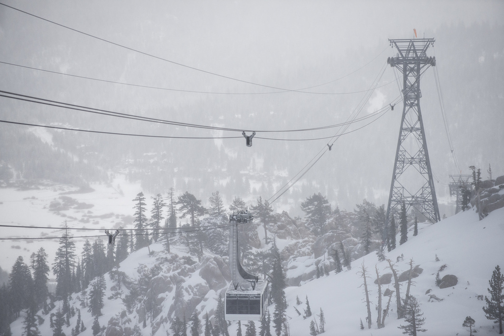 New snow at Squaw Valley covers the aerial tram. - ©Matt Palmer