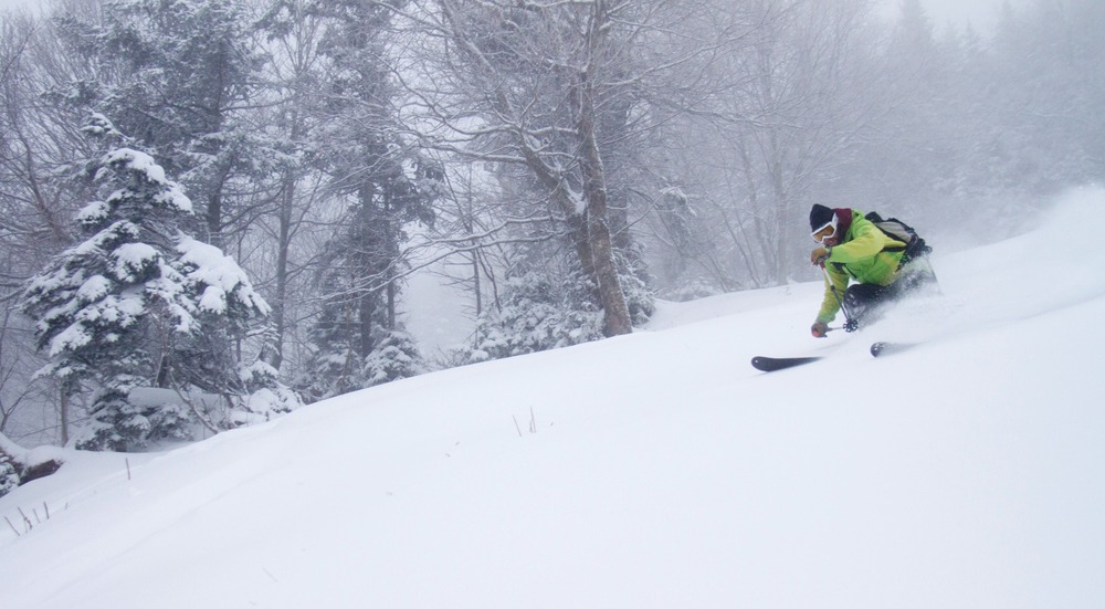 The snow kept up all day, and by late afternoon, skiers like Ian Forgays were enjoying shin deep conditions in Vermont's Mad River Valley.