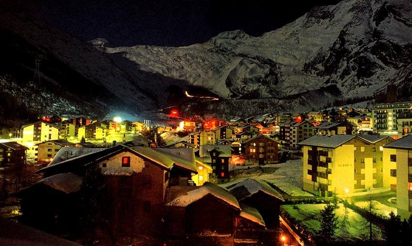 Saas Fee at night.