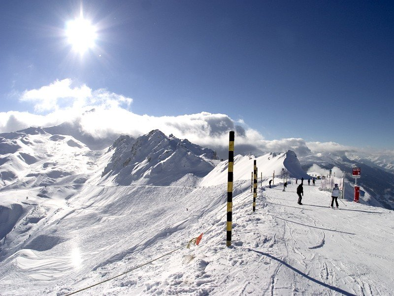 Wide open skiing in Les Arcs, Paradiski area.