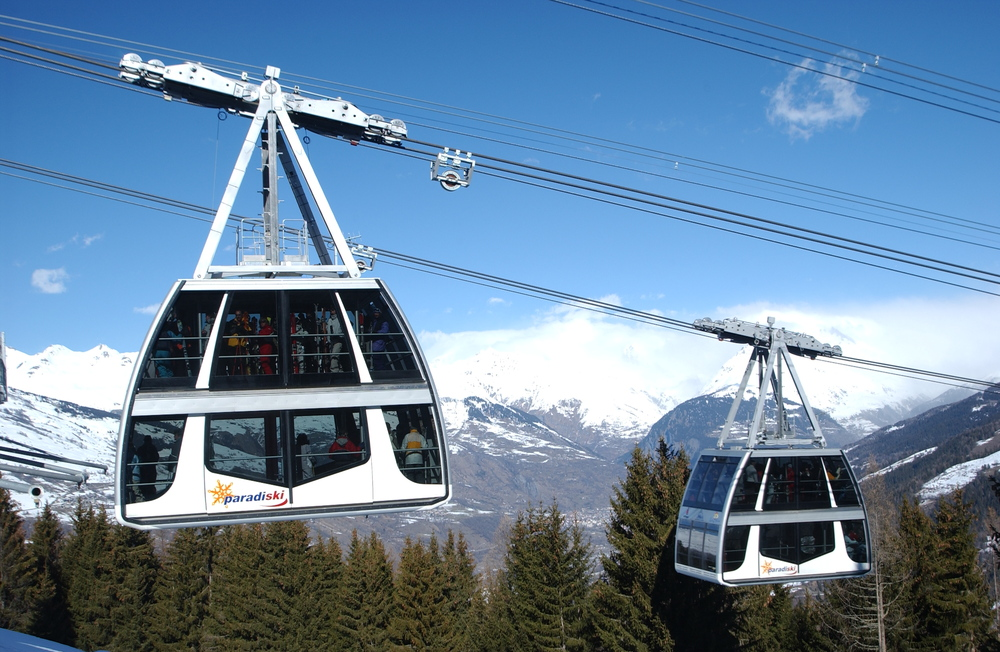 Double-decker gondola in Paradiski area