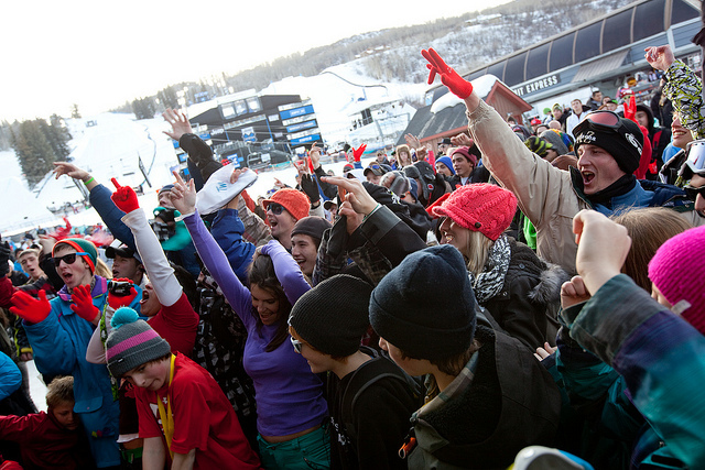 Kids dancing and having fun at the X-Games.