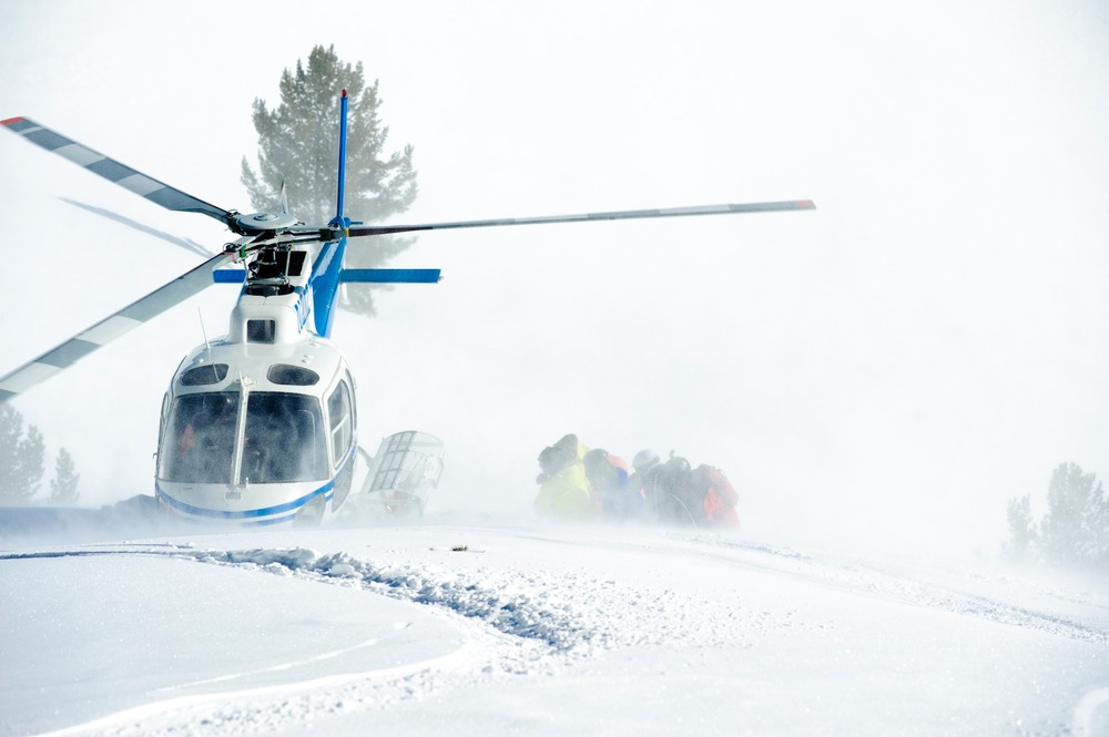 The chopper at Sun Valley Heli-Ski Guides.