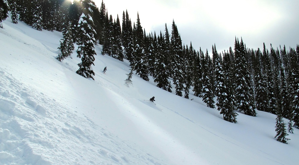 Wide open skiing at Island Lake.
