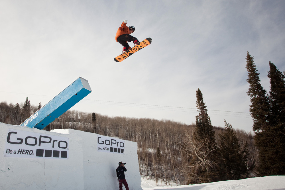 Snowboard slopestyle practice. The course is 1, 700 feet long with a vertical drop of 290 feet.