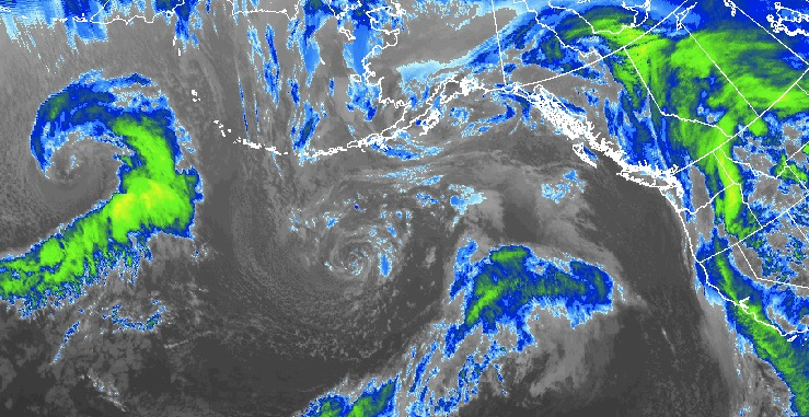 Storms are lined up off the Pacific coastline.